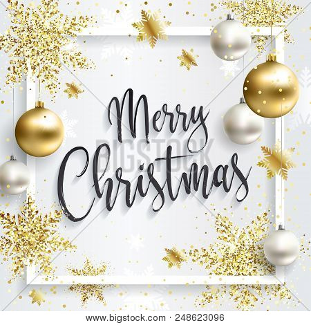 Square Christmas Card With Gold Sequins. Merry Christmas Calligraphic Inscription. White Clean Backg