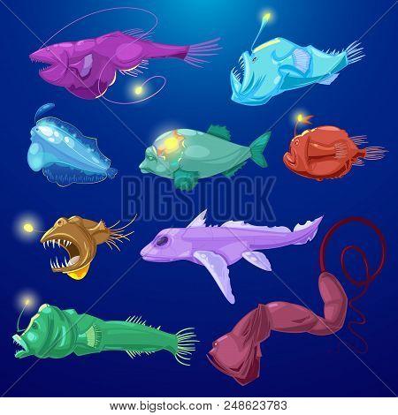 Angler Fish Vector Seafish Predator Character With Teeth And Light Or Cartoon Sea-angler Undersea In