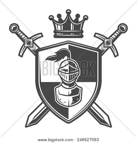 Vintage Monochrome Knight Coat Of Arms With Medieval Warrior Helmet On Shield Crossed Swords And Roy