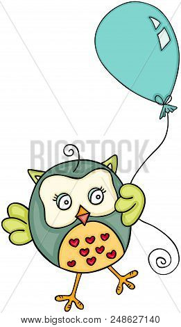Scalable Vectorial Representing A Cute Owl With Balloon, Illustration Isolated On White Background.