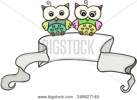 Scalable Vectorial Representing A Owl Couple With Ribbon Banner, Element For Design, Illustration Is