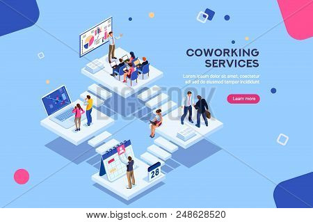 Coworkers Office Concept With Characters. Freelancer Concept, Coworking People, Ceo Business Workspa