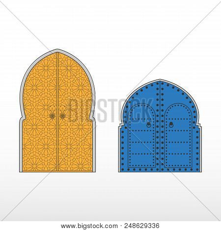 Traditional Moroccan entry doors. Moroccan riads. Vector Illustration. poster