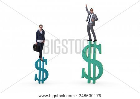 Concept of inequal pay and gender gap between man woman poster