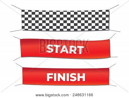 Start And Finish Textile Banners Vector Set. Flag Sport Race, Competition Finishing. Start And Finis