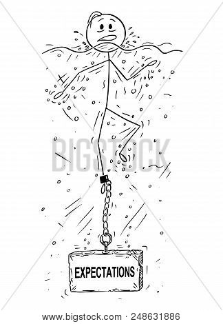 Cartoon Stick Drawing Conceptual Illustration Of Man Or Businessman Drowning With Block Of Stone Or