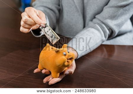 Woman Putting One Hundred Dollar Banknote In A Funny Red Moneybox. Concept Of Future, Business, Savi