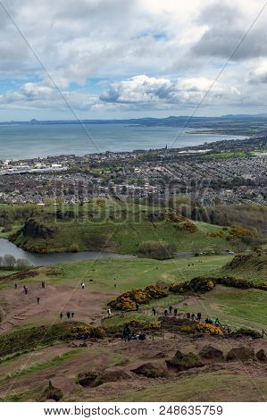 View Of Edinburgh City Towards Coastal Area Of The North Sea From Arthur's Seat, The Highest Point I