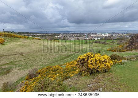 A Hillwalking Route Through Grassy Slopes Up To Arthur's Seat, The Highest Point In Edinburgh Locate