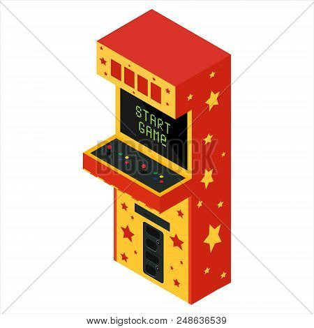 Vector Isometric Retro Arcade Game Machine. Gaming Machine With Text Start Game Icon