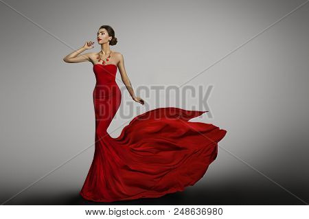 Woman Red Dress, Fashion Model In Long Silk Sexy Gown, Waving Flying Fabric Tail Train, Cloth Flutte
