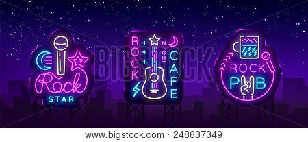 Rock Music Collection Neon Logos Vector. Rock Pub, Cafe, Rock Star Neon Signs, Conceptual Symbols, B