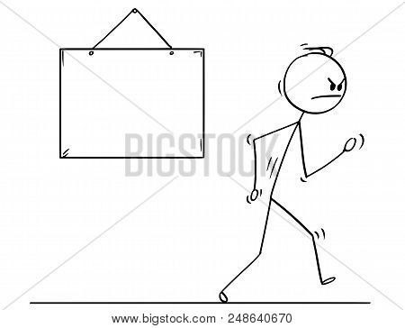 Cartoon Stick Drawing Conceptual Illustration Of Angry Man Or Businessman Walking Vigorously From Em