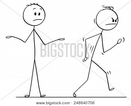 Cartoon Stick Drawing Conceptual Illustration Of Angry Man Or Businessman Leaving Vigorously Convers