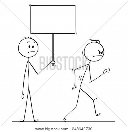 Cartoon Stick Drawing Conceptual Illustration Of Angry Man Or Businessman Leaving Vigorously Another
