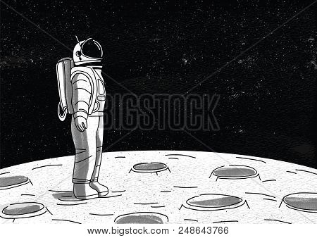 Lonely Astronaut In Spacesuit Standing On Surface Of Moon And Looking At Space Full Of Stars. Cosmon