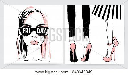 Fashion Illustration. Vector Girls. Woman In Sunglasses. Hand Drawn Stylish Woman In Sketch Style. B