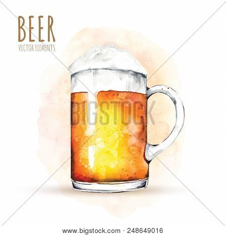 Watercolor elements on the theme of beer. Beer glass, hops, malt. Illustrations for web, poster, party invitation. poster