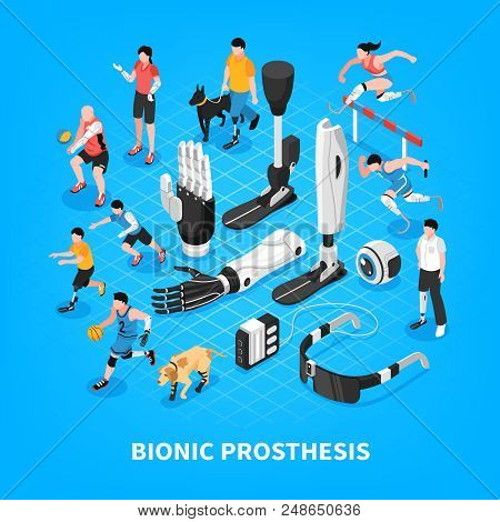 Bionic Prothesis Isometric Composition With Robotic Arm Athletic Blade Runners Artificial Limbs Visi