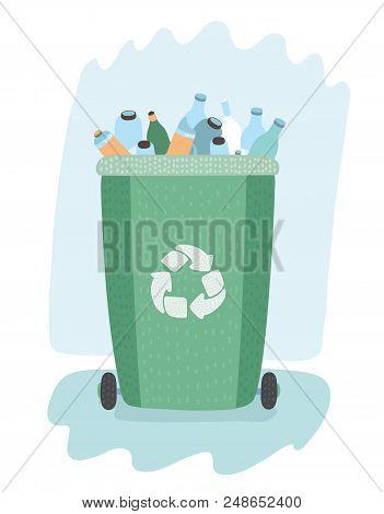 Vector Cartoon Illustration Of Waste Management Concept Segregation. Separation Of Waste On Garbage