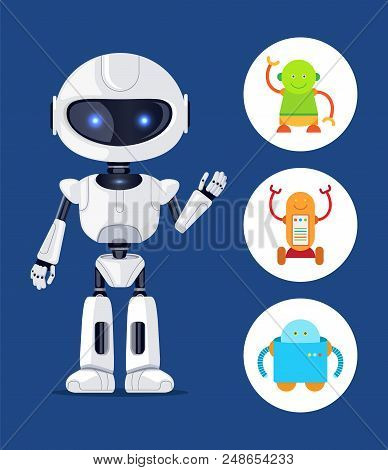 Robot With Glowing Eyes, Set Of Robots, Robotic Creature Waving And Being Friendly, Circle Icons Vec