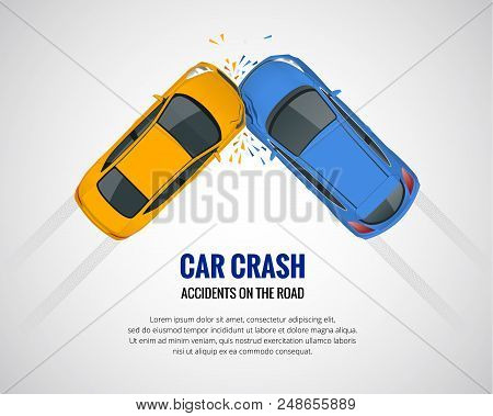 Car Crash, Car Accident Top View Isolated On A Light Background. Car Crash Emergency Disaster. Flat