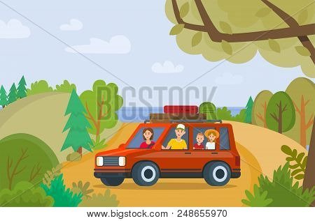 Traveling Family On Vacation. Happy Family Traveling By Car. Tourism And Vacation On Summer. Father,