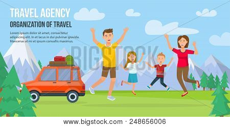 Traveling Family On Vacation. Happy Family Traveling By Car. Tourism And Vacation On Summer. Parents