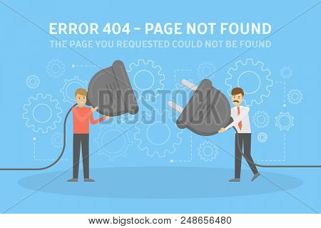 Two Men Holding Wire Plug And Socket Trying To Fix The Web Page. 404 Error Page Not Found Concept. F