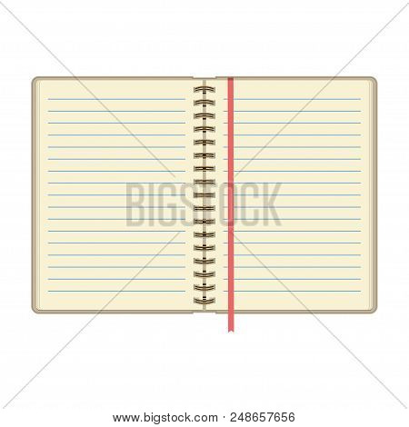 Open Diary Or Personal Organizer With Empty Pages. Isolated On White Background Daily Planner. Vecto