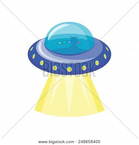 Ufo Spaceship Icon. Flying Saucer With Aliens Inside. Extraterrestrial Civilization Symbol Isolated