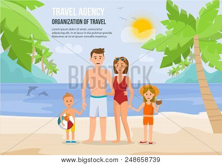 Happy Family On Beach. Father, Mother, Son And Daughter Enjoying Beach Vacation Walking On Sand. Par