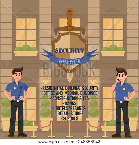 Work Of Security Agency. Protection Of Buildings And Public Institutions. Strong Men Guarding Securi