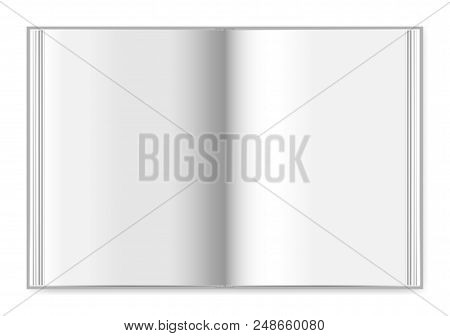 Hardcover Book Spread Top View, Vector Mock-up. Open Thick Notebook With Blank Pages