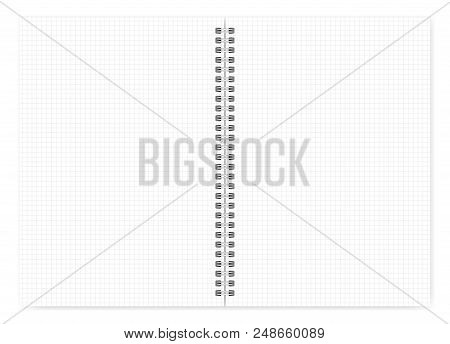 Open Notebook With White Squared Pages A4 Size, Vector Mock Up. Spiral Bound Loose Leaf Notepad Mock