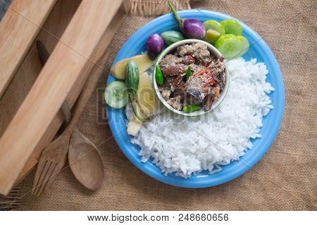 Salted Crab Stew With Coconut Milk Served With Cooking Rice And Vegetables, Thai Food.
