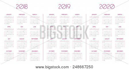 Simple Vector Calendar Templates For 2018 2019, 2020 Business Organizer