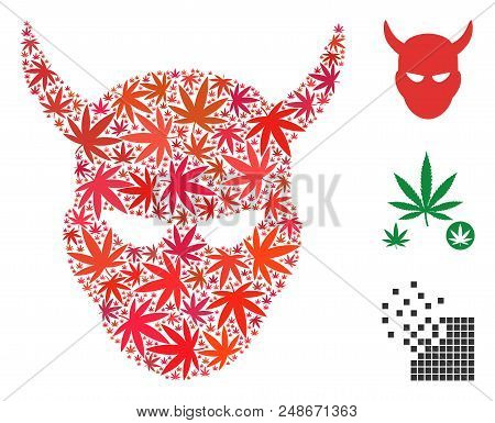 Daemon Head Mosaic Of Cannabis Leaves In Various Sizes And Color Shades. Vector Flat Cannabis Elemen