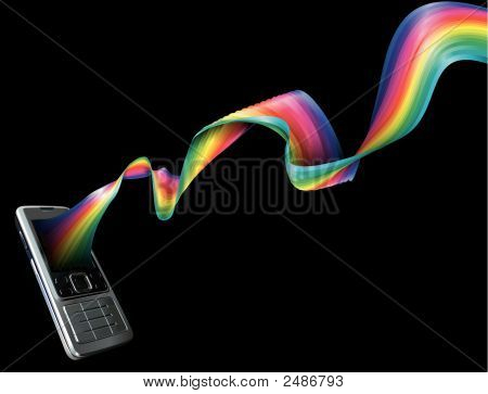 Mobile Cell Phone With A Rainbow Flowing Out Of It