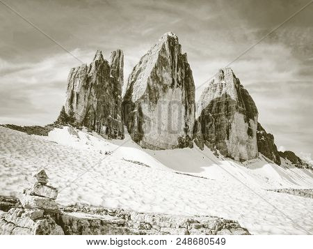 Stones Gravel Stack Bellow Alpine Mountain Summit. Spring Trail Around Tre Cime Di Lavaredo, Well Kn