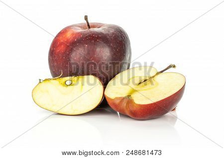 Red Delicious One Apple One Half One Slice Isolated On White Background