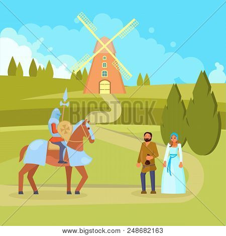 Vector Illustration Of Medieval Scene With Knight On Horseback With Full Knights Equipment Including