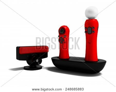 Modern Red Joysticks Navigational And Black Camera For Game Console 3d Render On White Background Wi