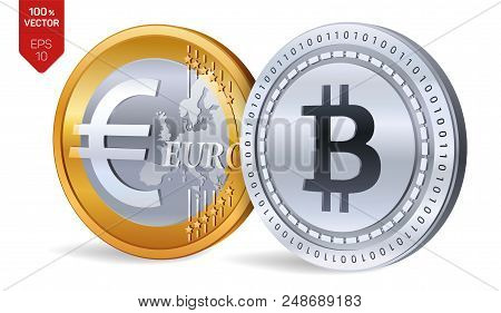Bitcoin. Euro Coin. 3d Isometric Physical Coins. Digital Currency. Cryptocurrency. Golden And Silver