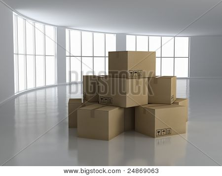Moving House concept - empty room with boxes