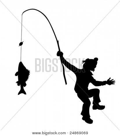 vector silhouette fisherman on white background