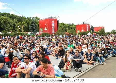 World Cup 2018 In Russia. Fans In The Fan Zone On The Sparrow Hills