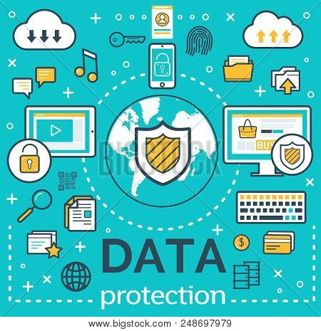 Internet Data Protection And Personal Network Security Poster. Vector Personal Files Encryption Tech
