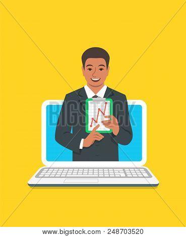 Online Business Coaching Concept. Vector Flat Illustration. Black Man Business Coach On Computer Mon