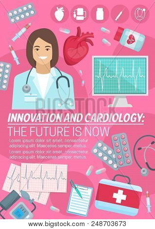 Cardiology And Innovation Cardio Medicine Poster For Heart Health Clinic And Medical Surgery. Vector